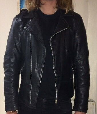 Vintage Leather Biker Jacket Black Size Small Slim Fit Retro