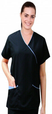 Microfiber Top Mock Wrap 3 Pockets Half Sleeve Solid