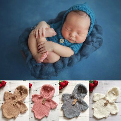 Cute Newborn Baby Infant Knit Hooded Romper Jumpsuit Bodysuit Outfits Photo Prop