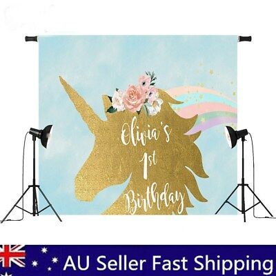 7x5ft / 5x3ft Gold Cartoon Unicorn Baby Party Backdrop Photography Studio Props