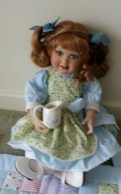 "Porcelain Doll. Ashton drake galleries.  ""A cup of love"". Rare. New."