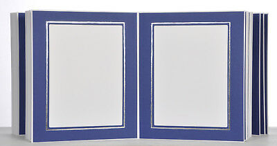 Picture Folder/Leporello for 100 Photos 15x20 - Blue with Silver Edge - 325S