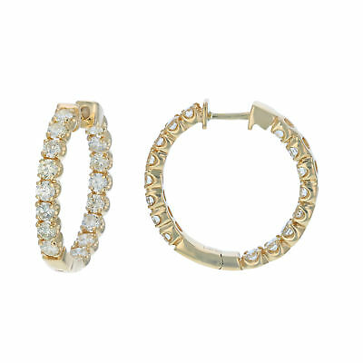 4 cttw SI1-SI2 Certified 14K Yellow Gold Diamond Inside Out Hoop Earrings (J-K)