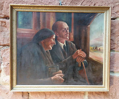 Extraordinary familiengemälde: Train in from Mother and sohn. Oil Painting, Sign