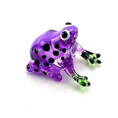 Frog Figurine Miniature Animal Hand Blown Glass Gift Handmade Decor Collectible