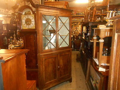 Antique Georgian oak mahogany corner cupboard glass top display case