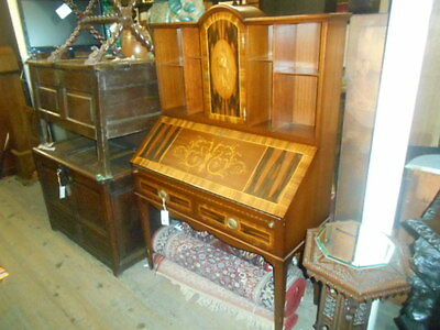 Inlaid bureau mixed wood fitted interior books storage beautiful quality