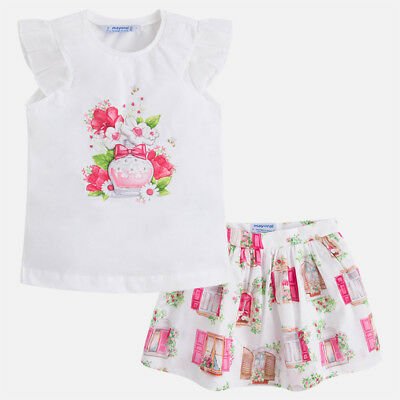Mayoral Girls Skirt-and T-Shirt Set In Fuchsia (03993) aged 2-8