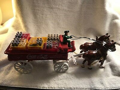 Coca Cola Cast Iron Wagon, Horses, Driver, Cases, Bottles