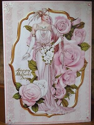 Handmade Art Deco mother's day mothers card a elegant lady in pink with roses