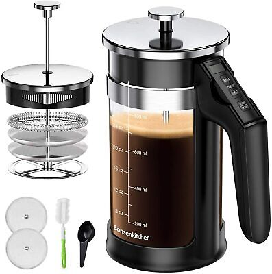 French Press Coffee Maker Stainless Steel 8 Cup 34oz Tea 1 Liter Filter Glass