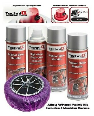 TechniQ Alloy Wheel Paint Kit SILVER + CLEAR LACQUER + MASKING COVERS x 4