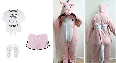 Ladies Team Magical Unicorn Pyjamas Set T-Shirt Shorts All In One Onesey Primark