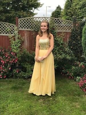 Worn Once Sherri Hill Pale Yellow Prom Dress Size 8 With Clutch Bag