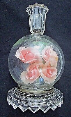 """Vintage candle stick holder round glass globe ball sphere faux pink roses 7-1/4"""""""