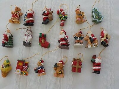 Miniature Resin Christmas Ornaments Total 19 Santa Tree Bear Small Train