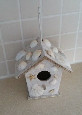 Seashell Birdhouse Distressed Shabby Cottage Art Decor White Shell Bird House