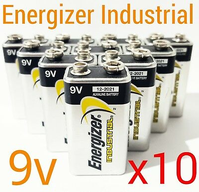 10 x Energizer 9v Industrial Batteries Block Battery Alkaline Smoke Alarm PP3