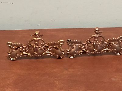 Set of 2 Antique Vintage Brass Decorative Cherub Drawer Pulls Handles