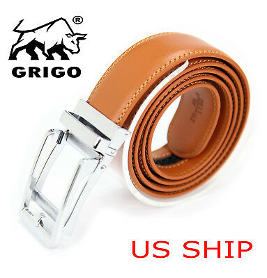 Mens Designer Tan Leather Dress Comfort Belt Sliding Automatic Click Buckle