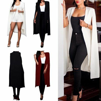 Women Casual Cape Trench Coat Suit Blazer Jacket Outwear Cardigan Long Cloak2018