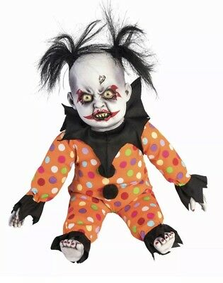 Evil Creepy Clown Doll Baby with Crazy Hair Lifesize Halloween Decoration Prop