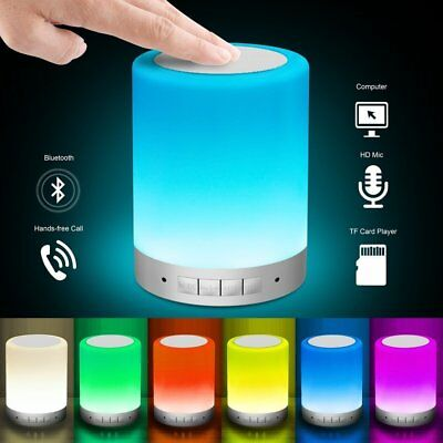 LATEST Wireless Bluetooth Speaker with Smart Touch Lamp Night Light Blue Tooth