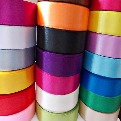 SATIN RIBBON 25mm wide Glossy Soft Great Quality Vivid Colors 10m to100 - Crafts