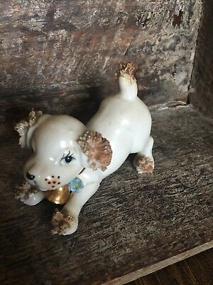 Vintage Dog Gold Spaghetti Trim Bell Pink Blue Flowers Ceramic Figurine 5295B