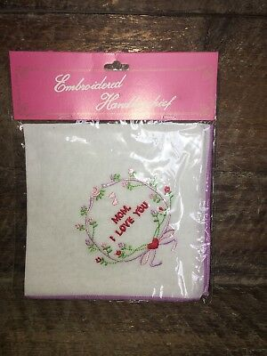 """Handkerchief Hankie """"mom, I Love You"""" With Purple Trim Mother'S Mothers  Day"""