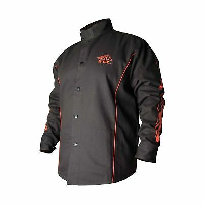 BSX Flame-Resistant Welding Jacket - Black with Red Flames, Size 2X... 2DAY SHIP