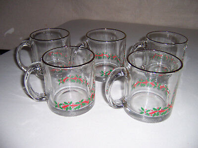 5 Vtg Arbys Libbey1986 Christmas Holiday Holly Berry Coffee Cups Mugs Gold Trim