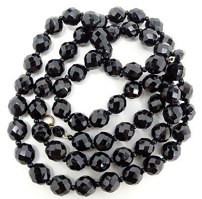 "Vintage Art Deco Faceted Jet Black Glass Bead 31"" Opera Length Necklace"