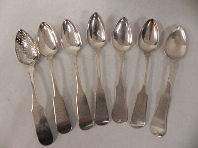 Lot Of 7 Antique Early American Sterling Silver Teaspoons One Pierced Mono 99 Gr