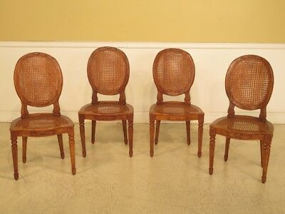LF44232EC: Set Of 4 Italian Made Cane & Walnut Dining Room Chairs