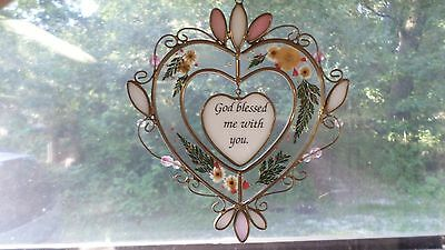 """2375M """"God Blessed Me With You"""" Leaded Stained Glass Suncatcher w/Dried Flowers"""