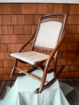 Antique Eastlake Wood Folding Childs Rocker Rocking Chair Arts & Crafts Gorgeous