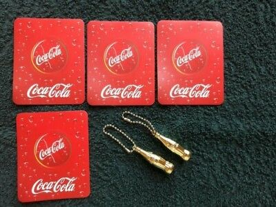 "Group Of 3 Gold Coca-Cola Bottle Shaped Key Chains-1 3/4 "" High"