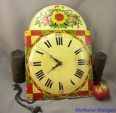 German Painted Decorated Wag on the Wall Clock  c. 19th cent