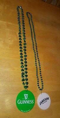 Jameson Irish Whiskey and Guinness St Patrick's Day Medallion Beaded Necklaces