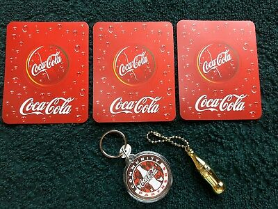 """lot OF GOLD COCA-COLA BOTTLE SHAPED KEY CHAINS-1 3/4 """" HIGH"""