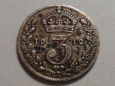 1912  Nice Great Britain 3 Pence 92.5% .04205 Oz Silver Low Mintage 8,934,000!!!