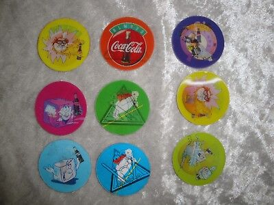 Set of 9 Pogs - Coca Cola Crazy FunTricker 3d