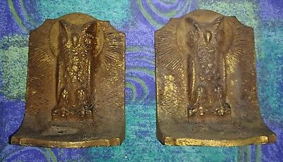 Pair of Vintage Arts & Crafts Cast Iron Owl Bookends