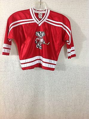 Little Boys Vintage Hockey Jersey Size 3 Red with Mascot Hockey Stick Nylon