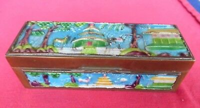 ANTIQUE or VINTAGE Brass & Enamel Box 5 inches ~ CHINA
