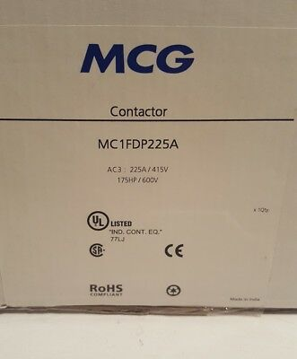 MCG Contactor 3 Pole 225A AC3 Without Coil MC1FDP225A