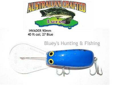 Australian Crafted Lures- cod 90mm invader Blue col;27  40ft a.c.lures