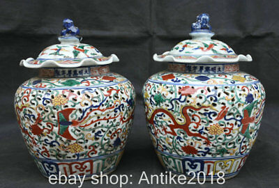 "11.6"" Wanli Marked Old China Wu Cai Porcelain Dragon Phoenix Pot Jar Crock Pair"