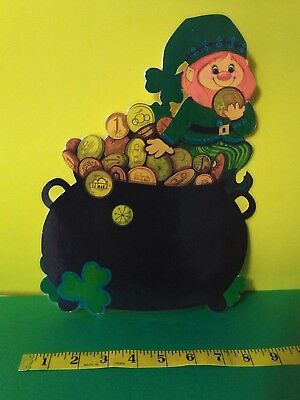Vintage Hallmark St. Patrick's Day Die-Cut Decoration Leprechaun & Pot of Gold